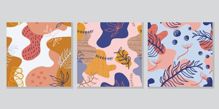 Floral abstract drawing pattern set design. Vector illustration modern contemporary art with pastel colors. Good for hijab scarf, pillow, and bandana textile print.