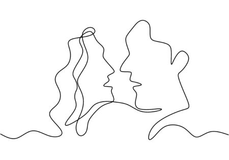 Continuous one single line drawing of romantic kiss of two lovers. Minimalism hand drawn sketch vector illustration, good for valentines day banner, poster, and background. relationship concept. Ilustração