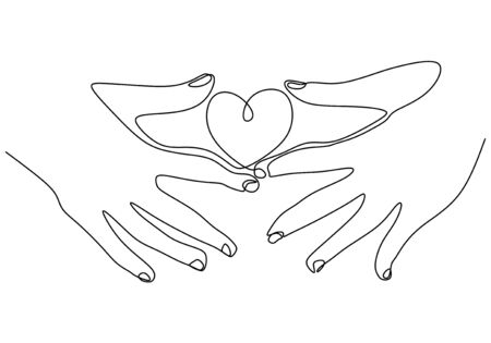 Hand holding heart one line drawing. Minimalism sketch vector illustration. Love symbol for valentines day card, banner, and background.