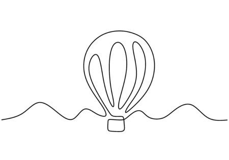 Vector illustration aerostat. Continuous one line style air balloon illustration, minimalism creative travel concept.