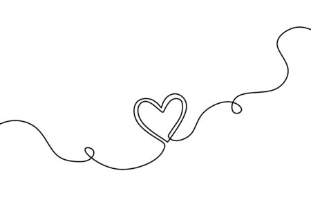 Continuous line drawing of heart, one hand drawn sketch vector illustration. Good for valentines day greeting banner, poster, and background. Ilustração