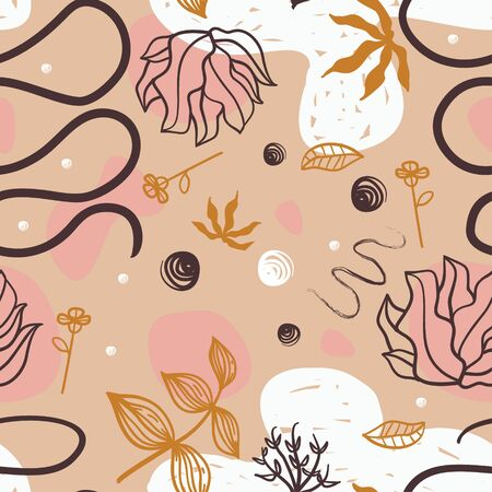 Abstract floral seamless pattern. Pastel colors scandinavian drawing style with botanical elements. Texture of ink hand drawn. Great for fabric, textile. Vector background. Ilustração