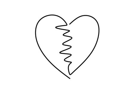 Continuous line drawing of love heart sign. One hand drawn minimalism, vector illustration. Romantic and wedding symbol.