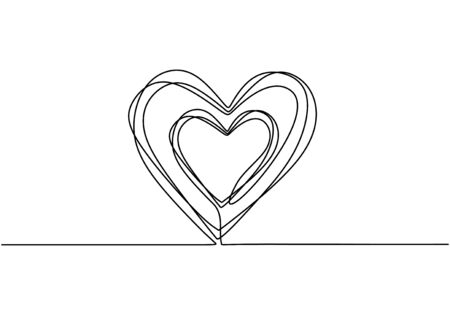 Heart scribble drawing. Continuous one line, hand drawn sketch vector illustration. Minimalism design for banner, background, and poster. Romantic and love symbols.