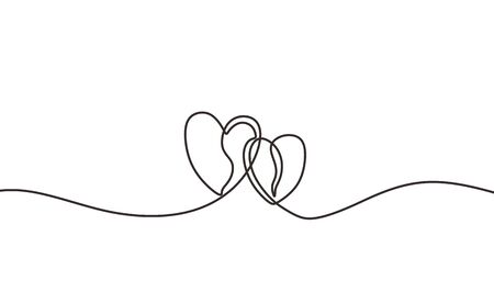 Continuous line drawing two hearts embracing, Black and white vector minimalist illustration of love concept minimalism one hand drawn sketch romantic theme.