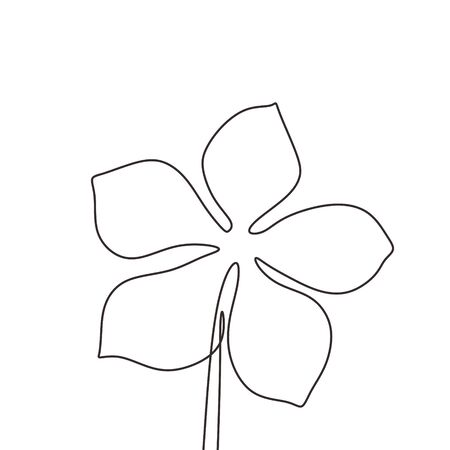 Continuous line drawing of flower minimalism vector illustration. Hand drawn botanical artwork isolated on white background.
