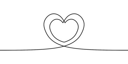 Continuous line drawing two hearts embracing, Vector minimalism one hand drawn sketch lineart. Love symbol romantic theme. Ilustração