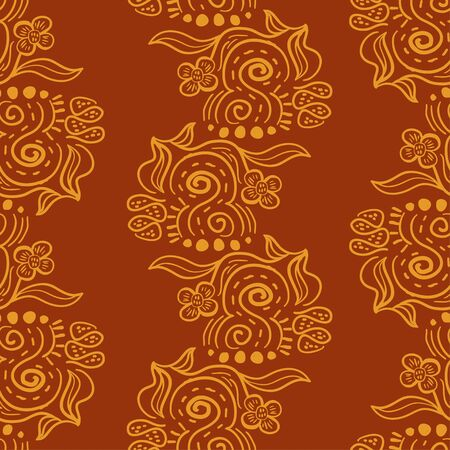 Batik ornaments seamless pattern. Brown and yellow colors with hand drawn floral abstract. Indonesian, asian, and thailand style drawing Good for fashion textile print.