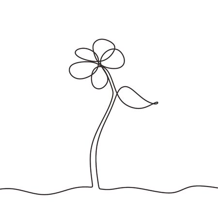 Botanical flower one continuous line drawing minimalism. Vector illustration with simplicity sketch hand drawn.