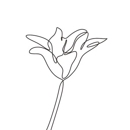 One line flower continuous hand drawn sketch lineart. Minimalism artwork of balloon botanical plant. Ilustração