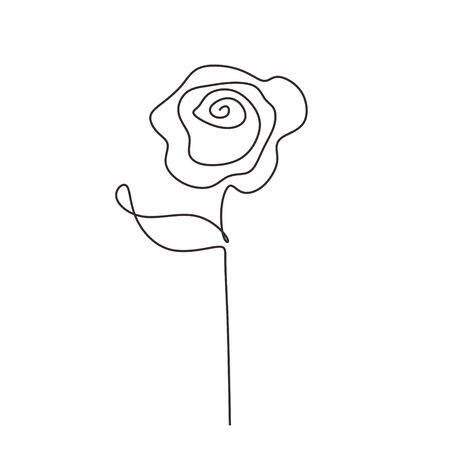 Rose continuous line drawing. Vector flower plant minimalism hand drawn.
