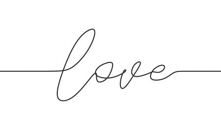 Continuous one line drawing of love typography lettering script font typographic lineart design. Simplicity concept of romantic card, banner, and poster sign and symbol. Ilustração