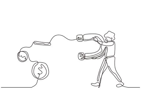 Continuous line drawing. Captivating money coins. Person attract dollar with big magnet. Minimalism design one hand drawn sketch doodle. Vettoriali