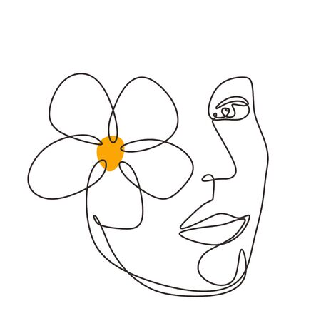 woman face with plumeria flower art. Continuous abstract hand drawn minimalism line drawing.