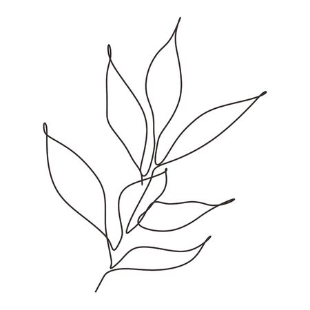 Continuous line drawing of leaves plant vector. Illustration of botanical hand drawn minimalism artwork.
