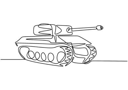 Tank one line drawing. An armoured fighting vehicle designed for front-line combat. Vector illustration army engine, minimalism continuous hand drawn.