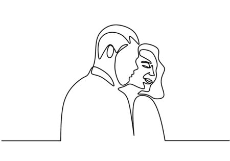 Continuous one line drawing. Loving couple woman and man in love relationship. Vector illustration, minimalism style.