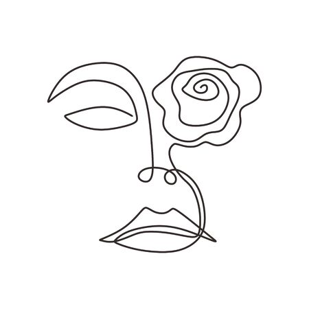 woman face with rose flower art. Continuous abstract hand drawn minimalism line drawing.