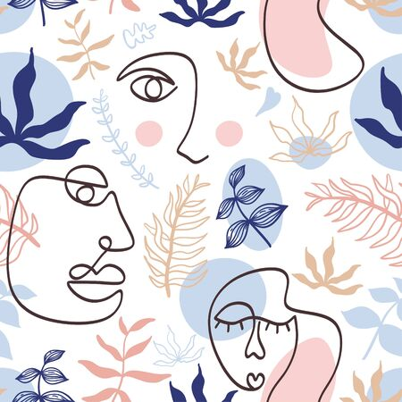 Modern fashion pattern with continuous one line, drawing of woman face. Floral abstract with pastel colors. Collage contemporary art. Fashionable template for design. Ilustração