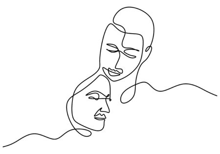 Continuous line drawing. Romantic couple. Lovers theme concept design. Minimalism emotional hand drawn of man and girl. Good for valentines day card, banner, and poster.
