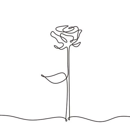 rose line icon minimalism. Hand drawn vector one continuous single lineart sketch isolated on white background.
