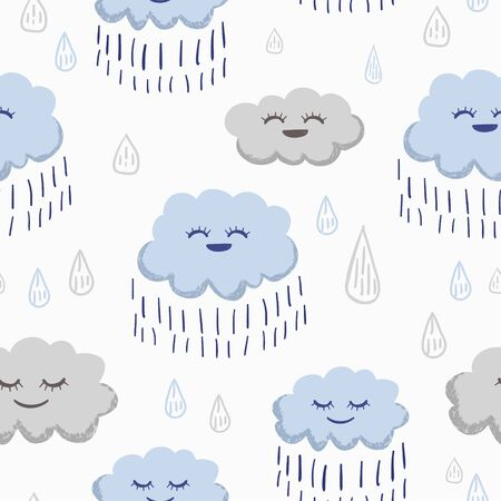 Rain seamless pattern. Vector illustration cute drawing with water drops from clouds. Funny hand drawn for baby and kids fashion textile print.
