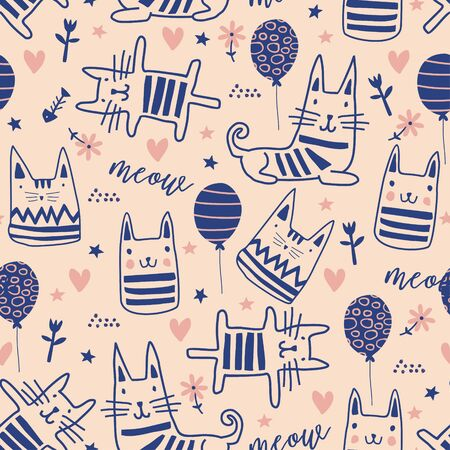 Cute cats doodle seamless pattern. Funny kittens with balloon, stars, flower, heart, and dot. Hand drawn blue and pink colors. Perfect for kids apparel,fabric, textile, and nursery wrapping.
