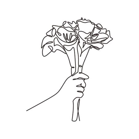 Bouquet of roses one line drawing. Continuous single hand drawn hand holding flowers. Vector romantic design minimalism illustration isolated on white background.