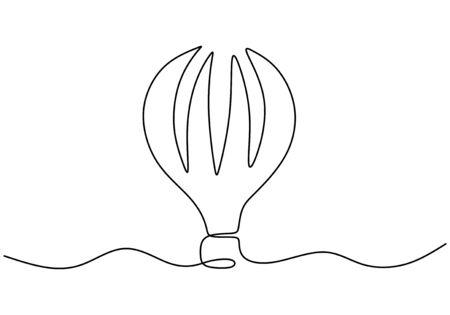 Vector illustration aerostat. Continuous one line style air balloon illustration, minimalism creative travel concept. Vetores