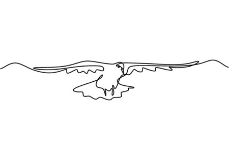Continuous one line drawing. Flying pigeon animal. Vector illustration minimalism, art hand drawn for logo, card, banner, poster, and tattoo.