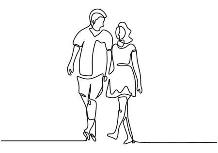 One line couple holding hands. Romance and relationship theme. Vector illustration for valentines day card, banner, and poster.