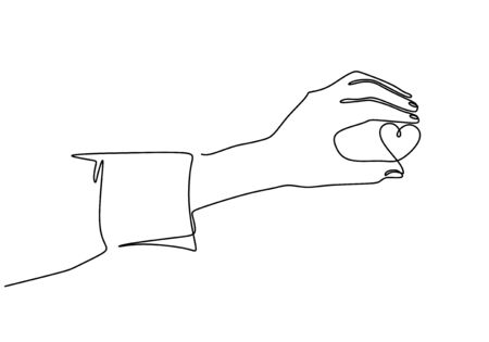 Continuous line drawing hand holding a piece of heart, one hand drawn sketch vector illustration. Good for valentines day greeting banner, poster, and background.