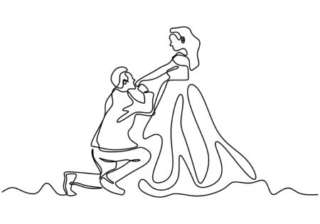 Continuous line drawing. Romantic couple, a man kiss a hand of woman, proposing for marriage. One hand drawn minimalism. Metaphor of love vector illustration, good for valentines day.