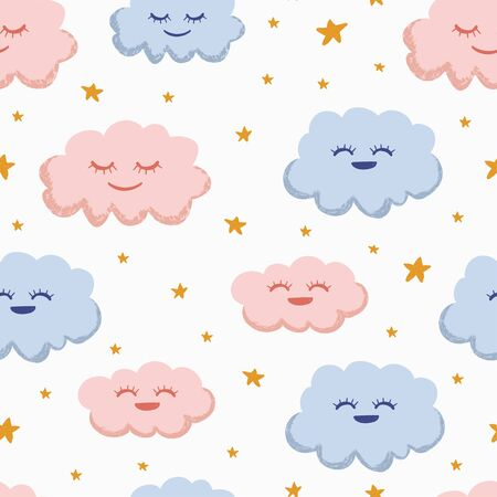 Nursery pattern vector illustration. Seamless hand drawn baby clouds. Good for children, kids, and kindergarten wallpaper. Pink and blue with yellow stars on white background. Ready for textile print. Ilustração