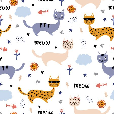 Funny cats seamless pattern. Cute hand drawn kitten animal cartoon. Scandinavian childish drawing style. Colorful vector illustration. Awesome hand drawn for baby, kids, and children fashion print.