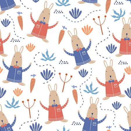 Cute bunny seamless pattern. Vector illustration rabbit animal cartoon with carrot, flower, and floral garden. Hand drawn colorful scandinavian childish drawing style for fabric and textile print. Ilustração