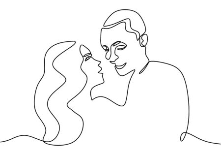 Continuous line drawing. Romantic couple. Lovers theme concept design. One hand drawn minimalism. Metaphor of love vector illustration, isolated on white background.