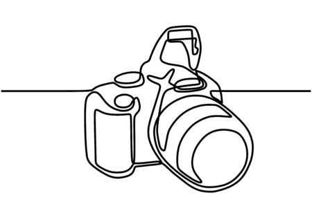 DSLR camera digital vector, one continuous single line drawing. Minimalism hand drawn art style.
