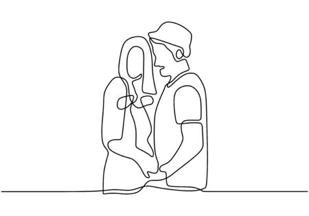 Continuous line drawing of couple in love. Romance intimacy of people with creative single lineart style.