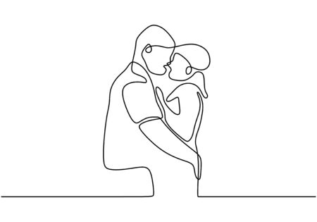 Continuous line drawing of couple hug. Cute and romantic man and woman in love. Minimalism sketch vector illustration. 일러스트