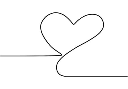 Continuous one line drawing. Heart symbol, minimalism design vector illustration. 일러스트