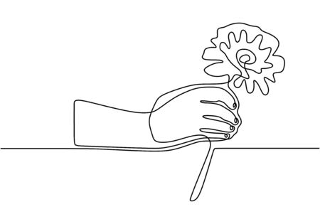 Hand holding rose flower. Continuous one line drawing, minimalism vector illustration simplicity style.