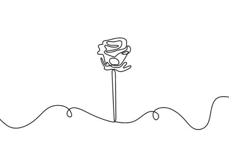 One line rose flower. Hand drawn minimalism style vector illustration. Botanical romantic garden drawing.