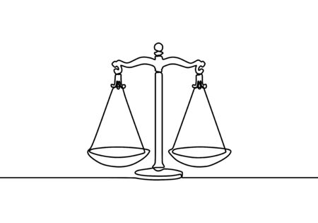 Weight balance symbol. Libra or law identity one line drawing style, vector illustration simplicity design.