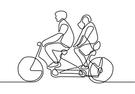 continuous single drawn one line of loving couple. People riding bicycles hand-drawn picture silhouette.