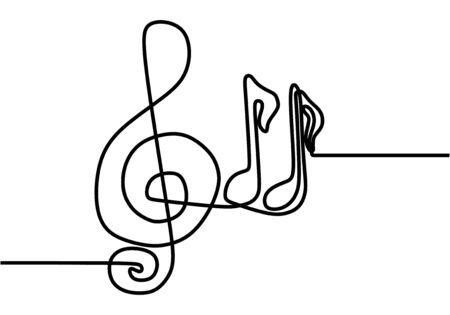 Music note continuous one line drawing. Vector song notation symbols. Illustration hand drawn minimalism style.