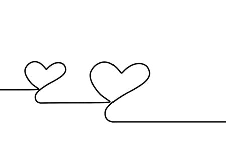 Continuous one line drawing. Heart sign and symbol of love and romance. Romantic theme vector illustration isolated on white background.