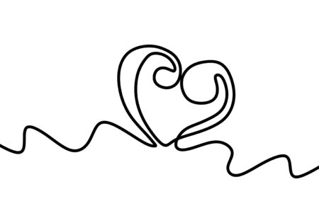 Continuous one line drawing. Heart symbol minimalism design vector.