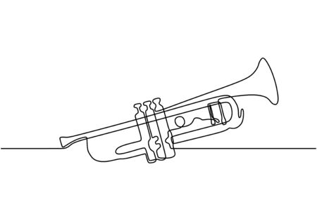 Continuous one line drawing of trumpet music instrument. Vector illustration simplicity design. 일러스트