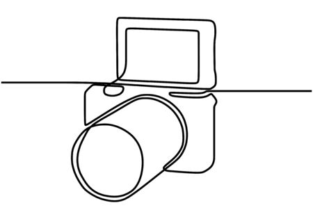 Mirrorless digital camera. One line drawing vector illustration minimalism.